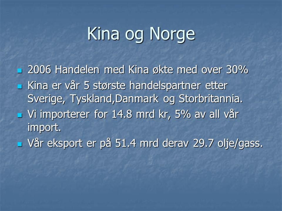 Kina og Norge 2006 Handelen med Kina økte med over 30% 2006 Handelen med Kina økte med over 30% Kina er vår 5 største handelspartner etter Sverige, Ty