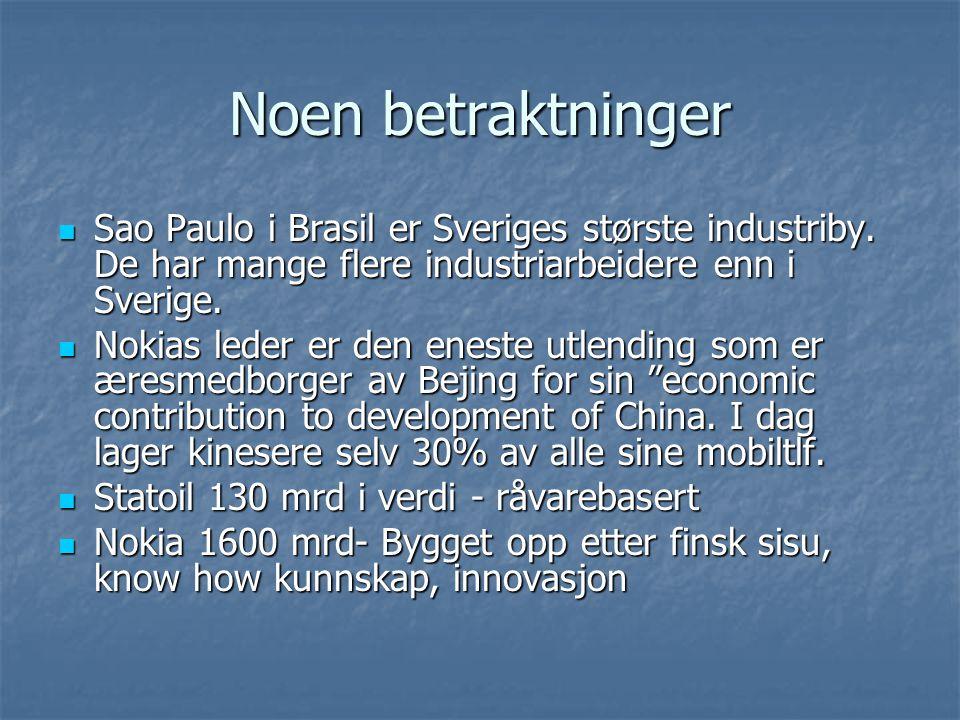 Noen betraktninger Sao Paulo i Brasil er Sveriges største industriby. De har mange flere industriarbeidere enn i Sverige. Sao Paulo i Brasil er Sverig