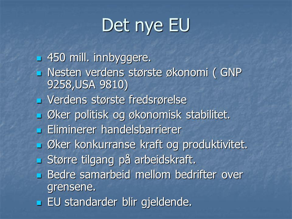 Det nye EU 450 mill. innbyggere. 450 mill. innbyggere. Nesten verdens største økonomi ( GNP 9258,USA 9810) Nesten verdens største økonomi ( GNP 9258,U