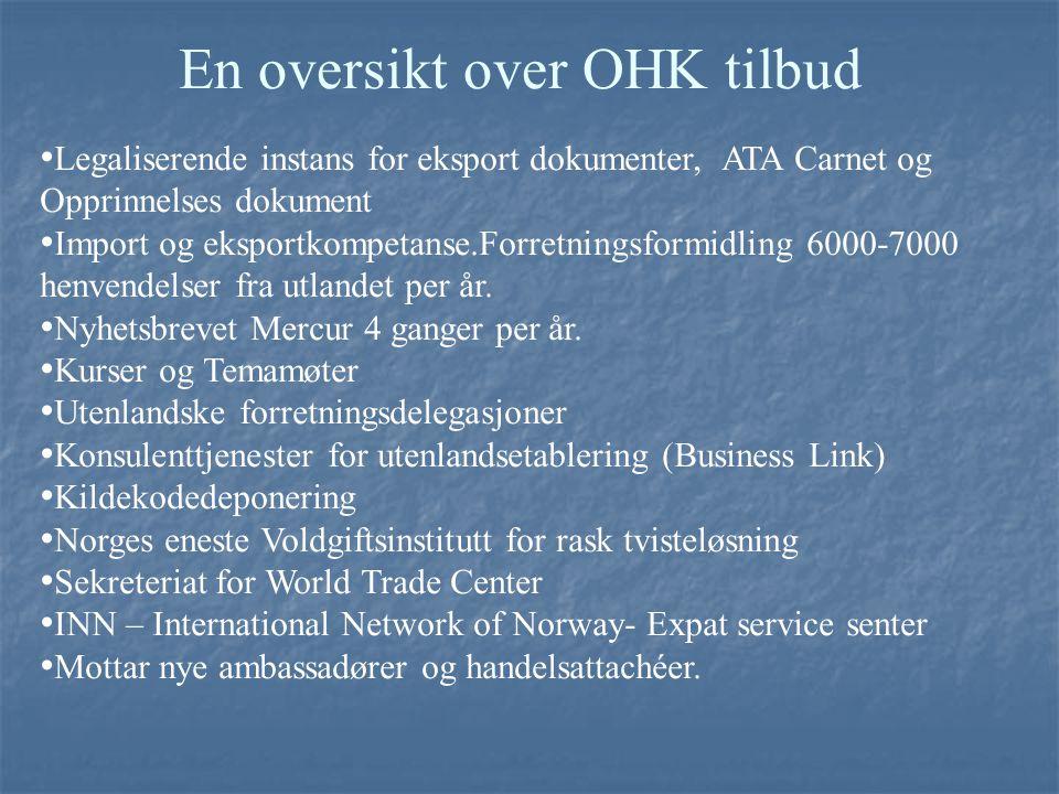En oversikt over OHK tilbud Legaliserende instans for eksport dokumenter, ATA Carnet og Opprinnelses dokument Import og eksportkompetanse.Forretningsf