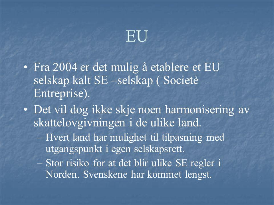 EU Fra 2004 er det mulig å etablere et EU selskap kalt SE –selskap ( Societè Entreprise). Det vil dog ikke skje noen harmonisering av skattelovgivning