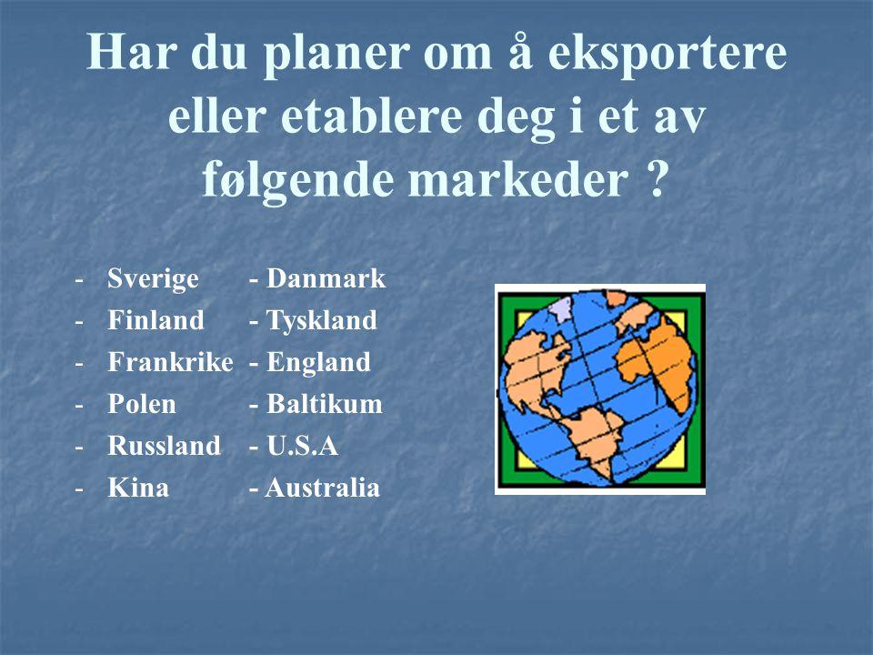 Har du planer om å eksportere eller etablere deg i et av følgende markeder ? -Sverige- Danmark -Finland- Tyskland -Frankrike- England -Polen- Baltikum
