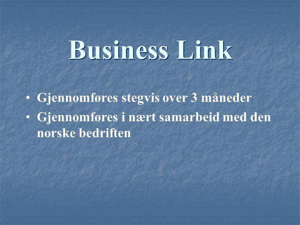 Business Link Gjennomføres stegvis over 3 måneder Gjennomføres i nært samarbeid med den norske bedriften
