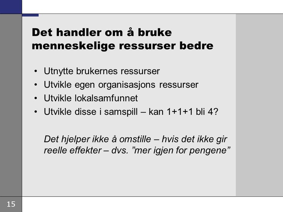 15 Det handler om å bruke menneskelige ressurser bedre Utnytte brukernes ressurser Utvikle egen organisasjons ressurser Utvikle lokalsamfunnet Utvikle disse i samspill – kan 1+1+1 bli 4.
