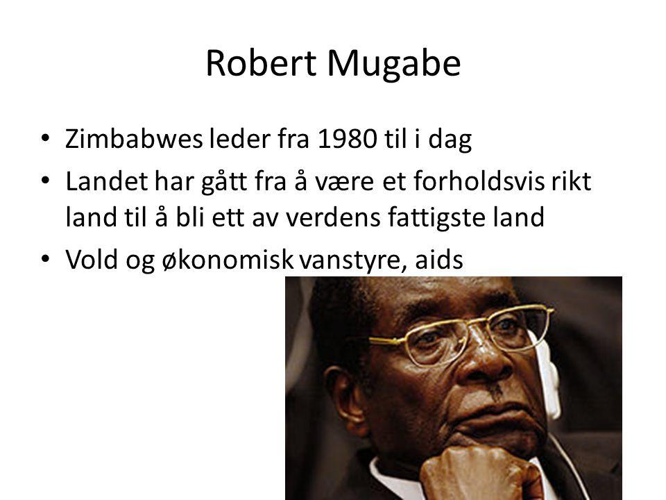 Robert Mugabe Zimbabwes leder fra 1980 til i dag Landet har gått fra å være et forholdsvis rikt land til å bli ett av verdens fattigste land Vold og ø