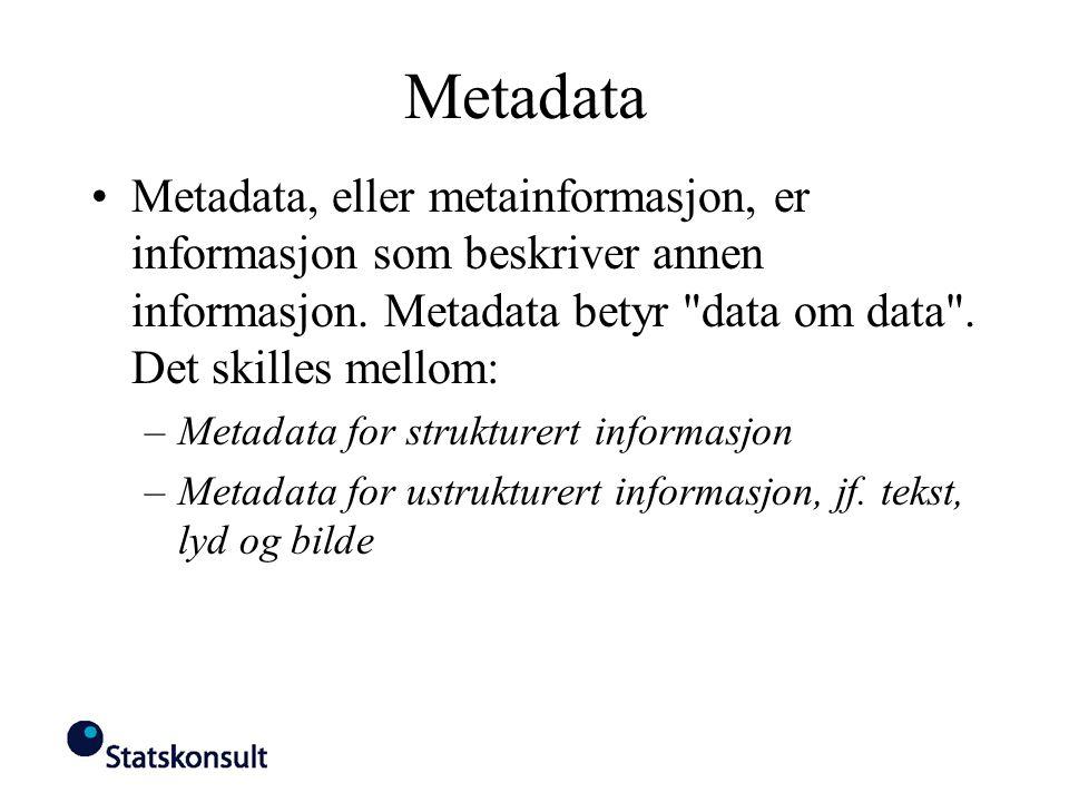 Metadata Metadata, eller metainformasjon, er informasjon som beskriver annen informasjon. Metadata betyr