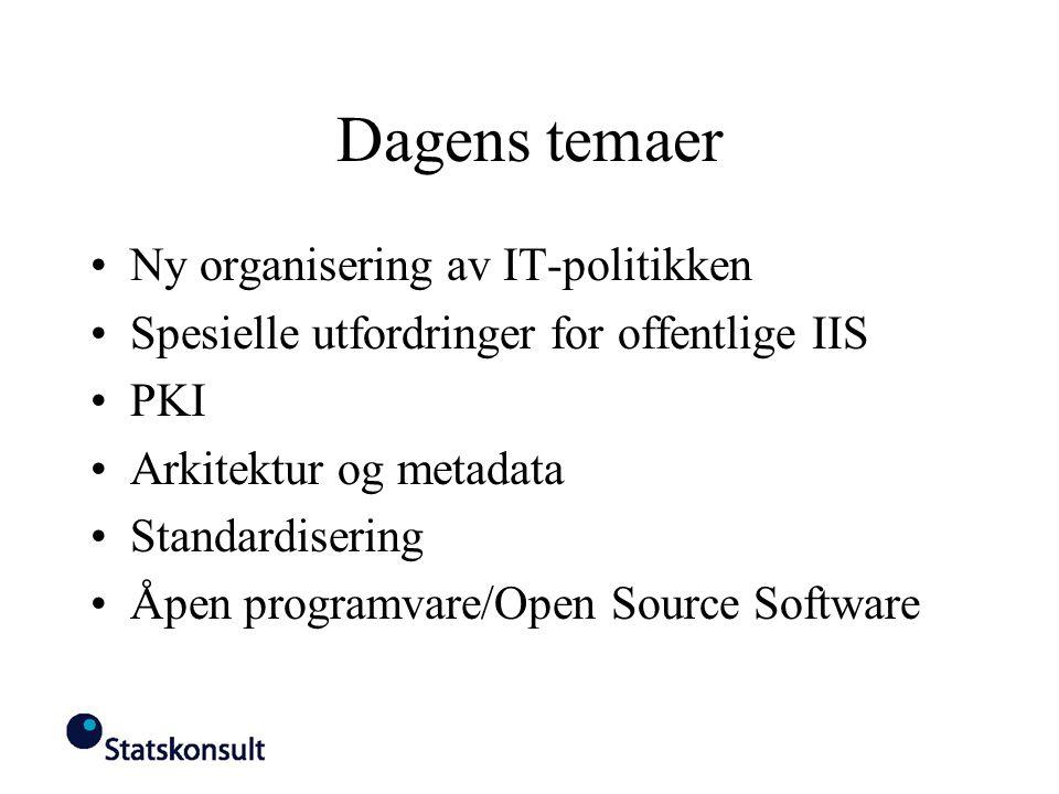 Dagens temaer Ny organisering av IT-politikken Spesielle utfordringer for offentlige IIS PKI Arkitektur og metadata Standardisering Åpen programvare/O