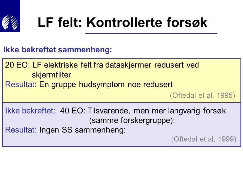 20 EO: LF elektriske felt fra dataskjermer redusert ved skjermfilter Resultat: En gruppe hudsymptom noe redusert Ikke bekreftet: 40 EO: Tilsvarende, m