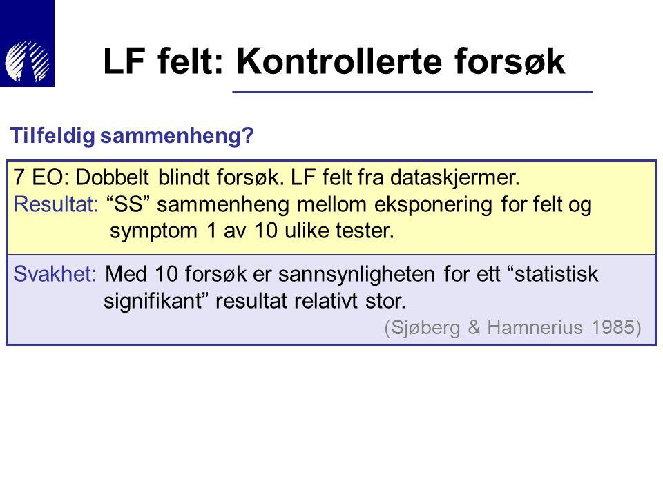 """7 EO: Dobbelt blindt forsøk. LF felt fra dataskjermer. Resultat: """"SS"""" sammenheng mellom eksponering for felt og symptom 1 av 10 ulike tester. Svakhet:"""