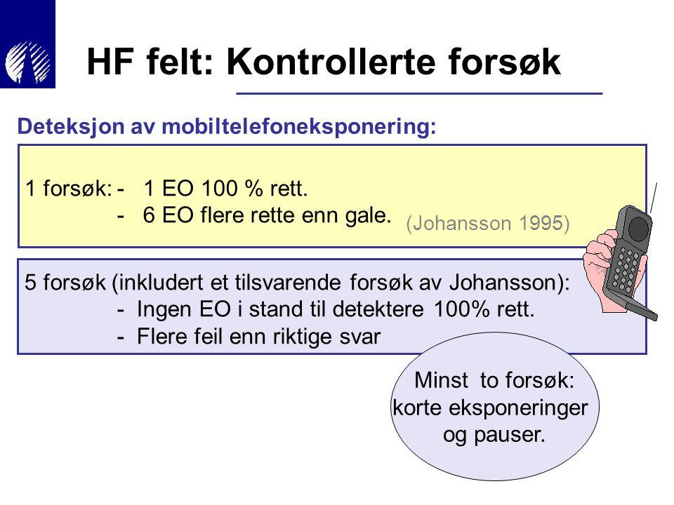 Deteksjon av mobiltelefoneksponering: 1 forsøk:- 1 EO 100 % rett. - 6 EO flere rette enn gale. 5 forsøk (inkludert et tilsvarende forsøk av Johansson)