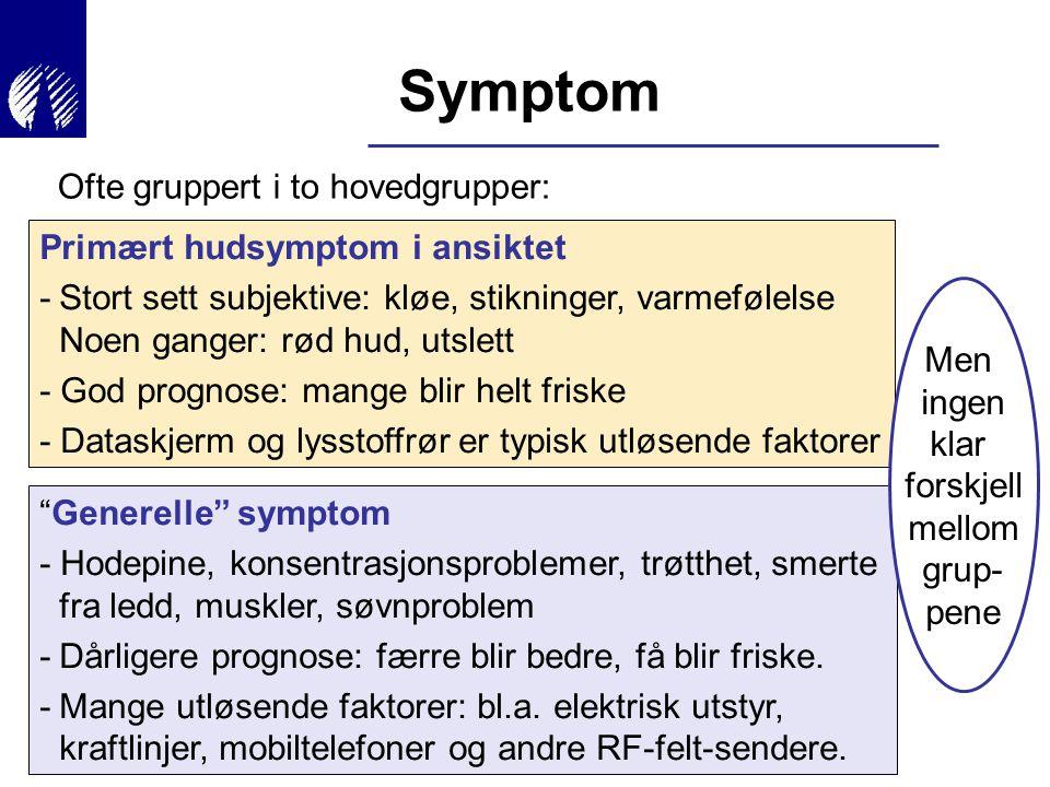 Symptom Ofte gruppert i to hovedgrupper: Primært hudsymptom i ansiktet -Stort sett subjektive: kløe, stikninger, varmefølelse Noen ganger: rød hud, ut