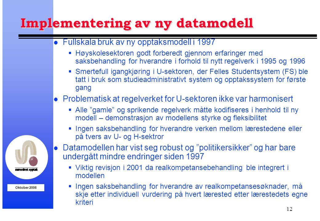 Oktober 2006 12 Implementering av ny datamodell l Fullskala bruk av ny opptaksmodell i 1997  Høyskolesektoren godt forberedt gjennom erfaringer med s