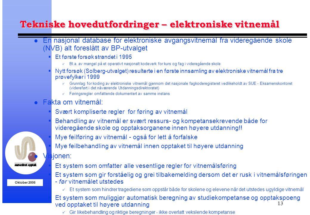 Oktober 2006 13 Tekniske hovedutfordringer – elektroniske vitnemål l En nasjonal database for elektroniske avgangsvitnemål fra videregående skole (NVB