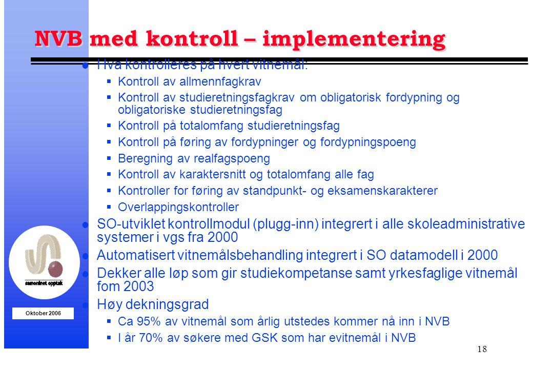 Oktober 2006 18 NVB med kontroll – implementering l Hva kontrolleres på hvert vitnemål:  Kontroll av allmennfagkrav  Kontroll av studieretningsfagkr