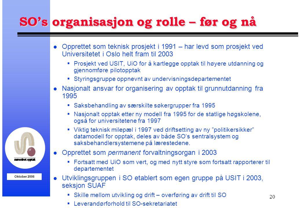 Oktober 2006 20 SO's organisasjon og rolle – før og nå l Opprettet som teknisk prosjekt i 1991 – har levd som prosjekt ved Universitetet i Oslo helt f