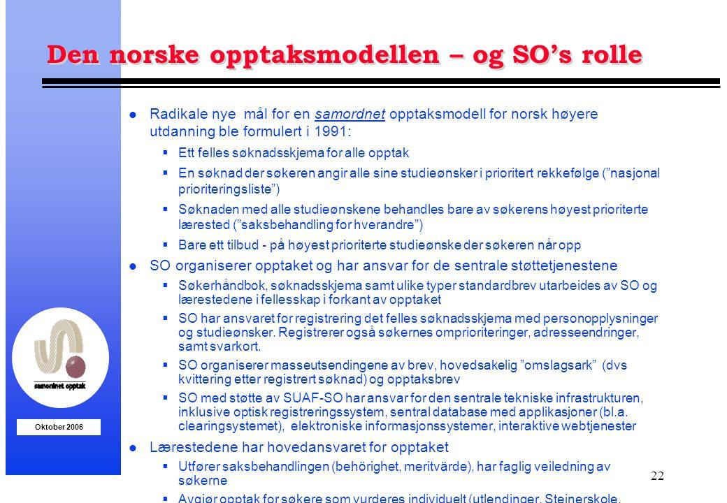 Oktober 2006 22 Den norske opptaksmodellen – og SO's rolle l Radikale nye mål for en samordnet opptaksmodell for norsk høyere utdanning ble formulert