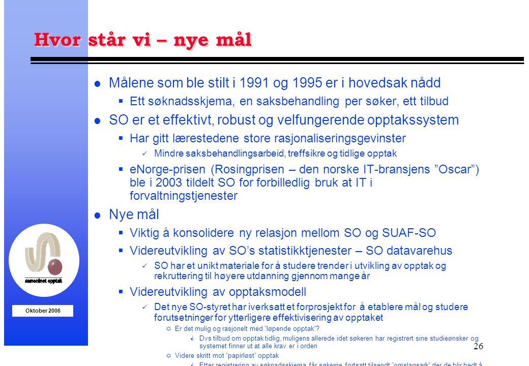Oktober 2006 26 Hvor står vi – nye mål l Målene som ble stilt i 1991 og 1995 er i hovedsak nådd  Ett søknadsskjema, en saksbehandling per søker, ett