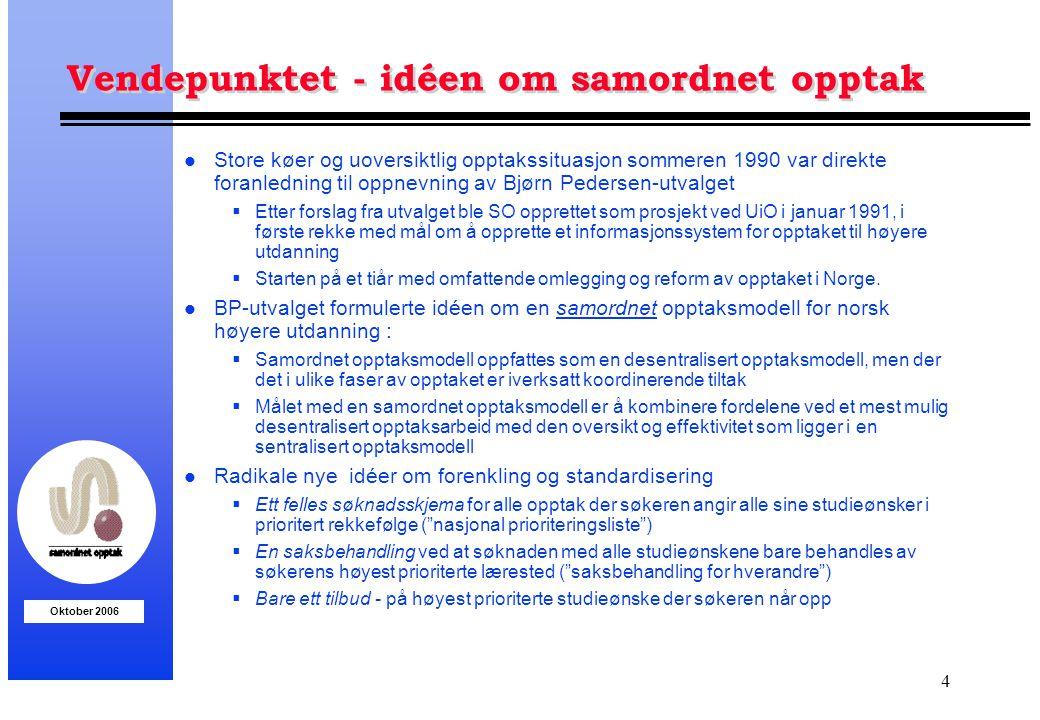 Oktober 2006 4 Vendepunktet - idéen om samordnet opptak l Store køer og uoversiktlig opptakssituasjon sommeren 1990 var direkte foranledning til oppne