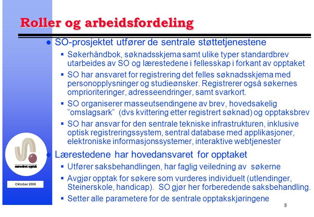 Oktober 2006 8 Roller og arbeidsfordeling l SO-prosjektet utfører de sentrale støttetjenestene  Søkerhåndbok, søknadsskjema samt ulike typer standard