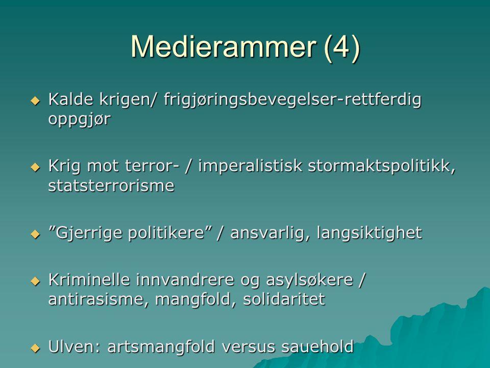 """Medierammer (4)  Kalde krigen/ frigjøringsbevegelser-rettferdig oppgjør  Krig mot terror- / imperalistisk stormaktspolitikk, statsterrorisme  """"Gjer"""