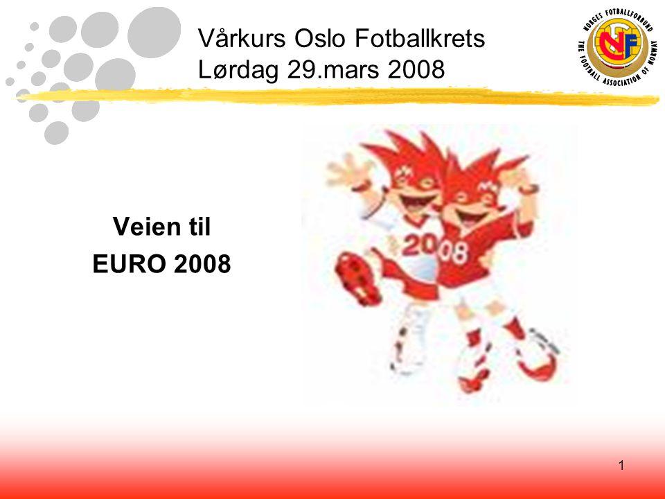1 Vårkurs Oslo Fotballkrets Lørdag 29.mars 2008 Veien til EURO 2008
