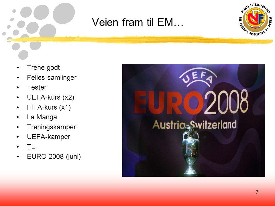 7 Veien fram til EM… Trene godt Felles samlinger Tester UEFA-kurs (x2) FIFA-kurs (x1) La Manga Treningskamper UEFA-kamper TL EURO 2008 (juni)