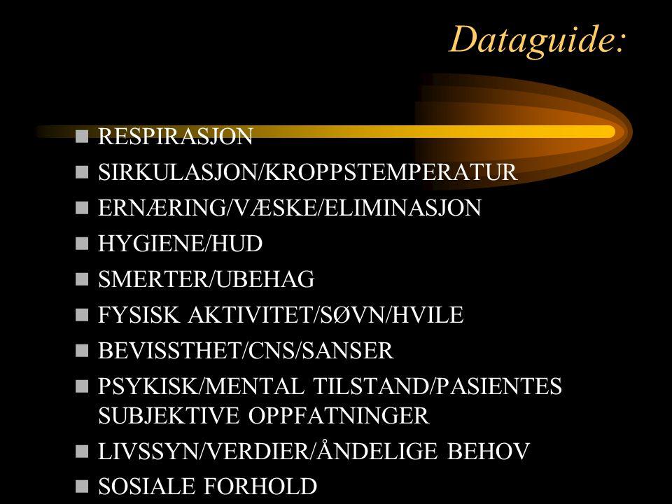 Dataguide: RESPIRASJON SIRKULASJON/KROPPSTEMPERATUR ERNÆRING/VÆSKE/ELIMINASJON HYGIENE/HUD SMERTER/UBEHAG FYSISK AKTIVITET/SØVN/HVILE BEVISSTHET/CNS/S