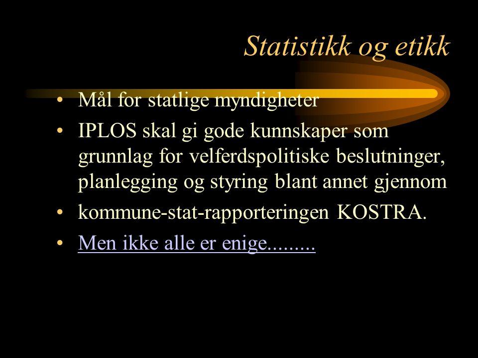 Statistikk og etikk Mål for statlige myndigheter IPLOS skal gi gode kunnskaper som grunnlag for velferdspolitiske beslutninger, planlegging og styring
