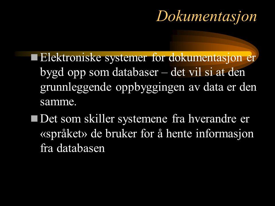 Dokumentasjon Elektroniske systemer for dokumentasjon er bygd opp som databaser – det vil si at den grunnleggende oppbyggingen av data er den samme. D
