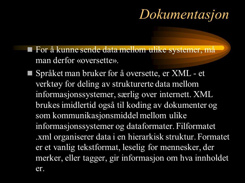 Dokumentasjon For å kunne sende data mellom ulike systemer, må man derfor «oversette». Språket man bruker for å oversette, er XML - et verktøy for del