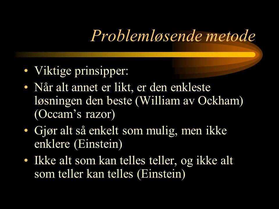 Problemløsende metode Viktige prinsipper: Når alt annet er likt, er den enkleste løsningen den beste (William av Ockham) (Occam's razor) Gjør alt så e