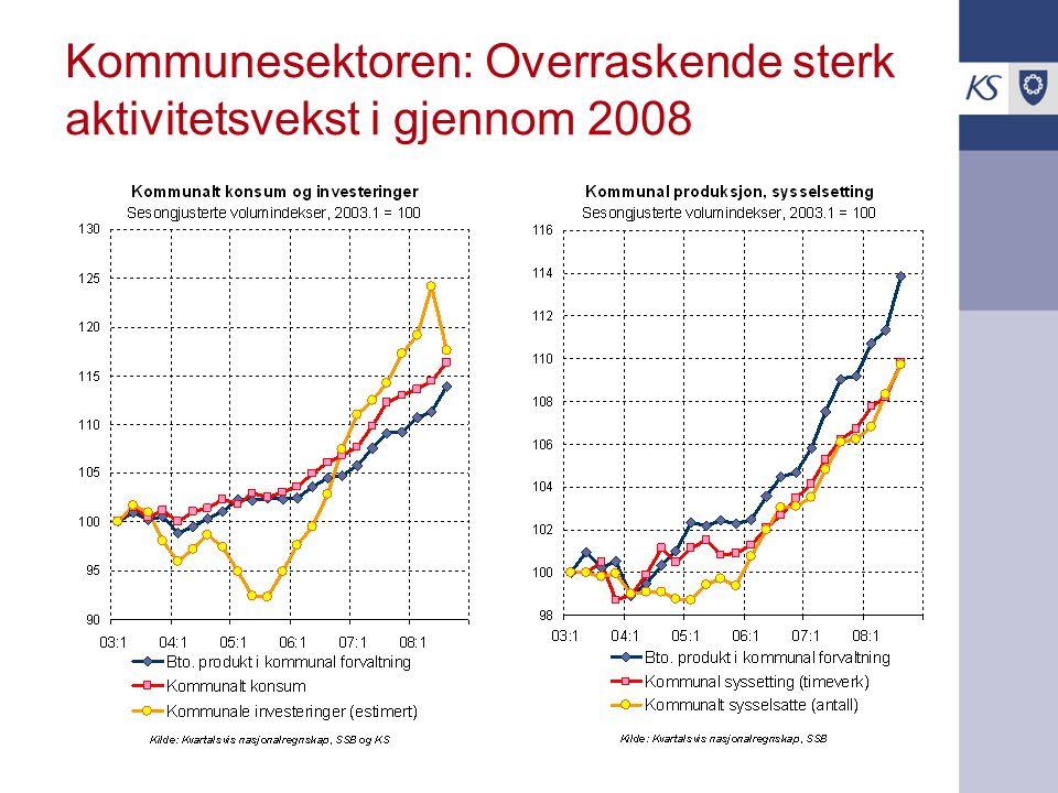 Kommunesektoren: Overraskende sterk aktivitetsvekst i gjennom 2008