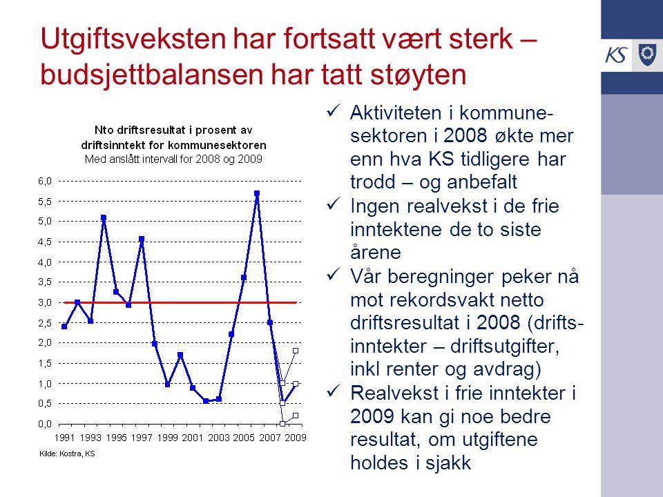 Utgiftsveksten har fortsatt vært sterk – budsjettbalansen har tatt støyten Aktiviteten i kommune- sektoren i 2008 økte mer enn hva KS tidligere har trodd – og anbefalt Ingen realvekst i de frie inntektene de to siste årene Vår beregninger peker nå mot rekordsvakt netto driftsresultat i 2008 (drifts- inntekter – driftsutgifter, inkl renter og avdrag) Realvekst i frie inntekter i 2009 kan gi noe bedre resultat, om utgiftene holdes i sjakk