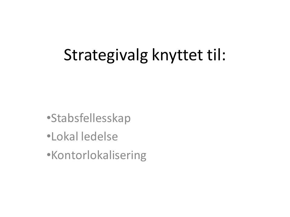 Strategivalg knyttet til: Stabsfellesskap Lokal ledelse Kontorlokalisering
