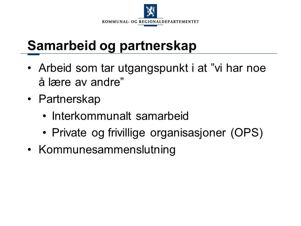 Samarbeid og partnerskap Arbeid som tar utgangspunkt i at vi har noe å lære av andre Partnerskap Interkommunalt samarbeid Private og frivillige organisasjoner (OPS) Kommunesammenslutning