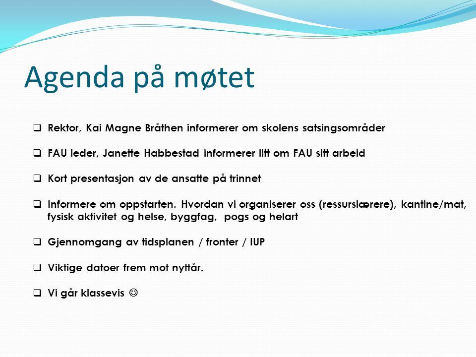 Agenda på møtet  Rektor, Kai Magne Bråthen informerer om skolens satsingsområder  FAU leder, Janette Habbestad informerer litt om FAU sitt arbeid 