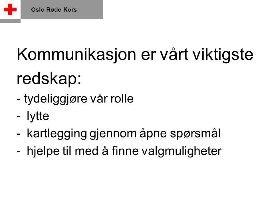 Kommunikasjon er vårt viktigste redskap: - tydeliggjøre vår rolle -lytte -kartlegging gjennom åpne spørsmål -hjelpe til med å finne valgmuligheter Oslo Røde Kors