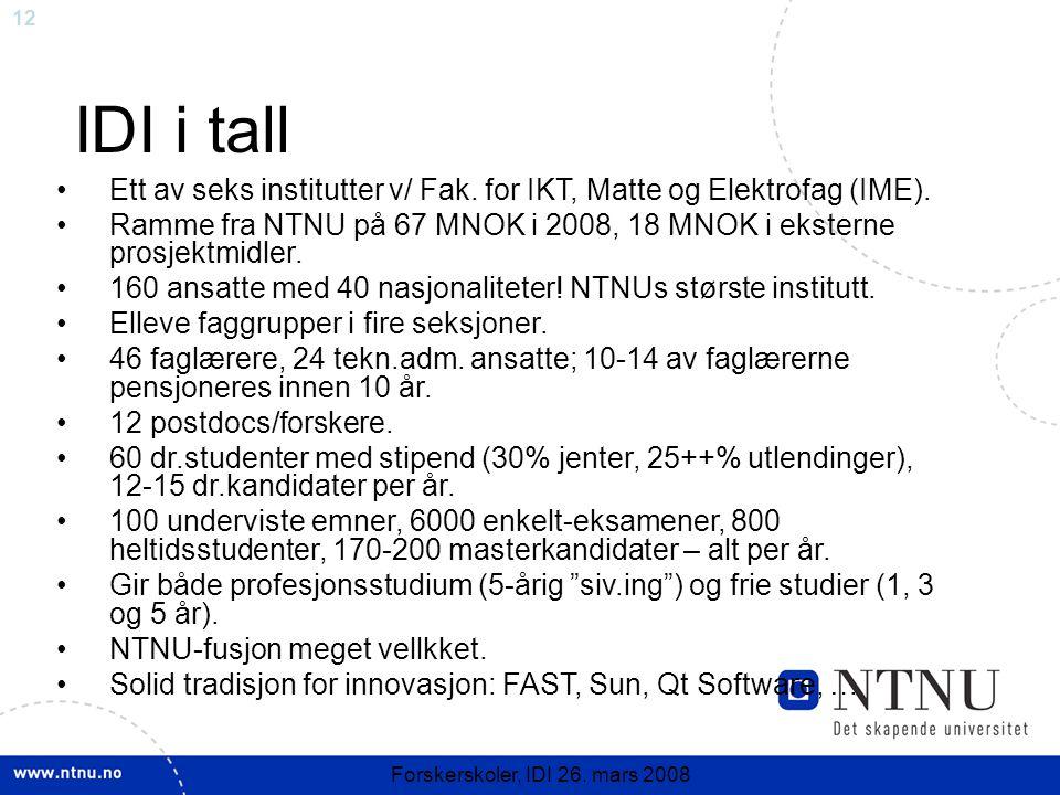 12 Forskerskoler, IDI 26. mars 2008 IDI i tall Ett av seks institutter v/ Fak. for IKT, Matte og Elektrofag (IME). Ramme fra NTNU på 67 MNOK i 2008, 1
