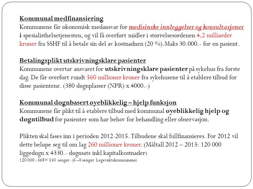 Kommunal medfinansiering Kommunene får økonomisk medansvar for medisinske innleggelser og konsultasjoner i spesialisthelsetjenesten, og vil få overført midler i størrelsesordenen 4,2 milliarder kroner fra SSHF til å betale sin del av kostnadnen (20 %).Maks 30.000.- for en pasient.