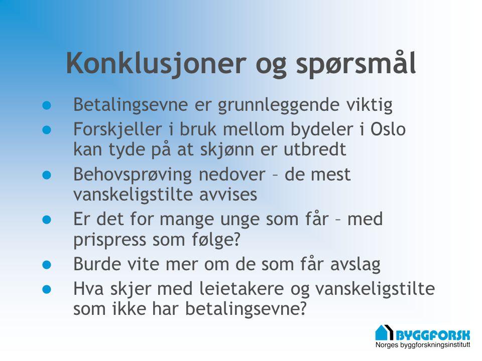 Konklusjoner og spørsmål Betalingsevne er grunnleggende viktig Forskjeller i bruk mellom bydeler i Oslo kan tyde på at skjønn er utbredt Behovsprøving