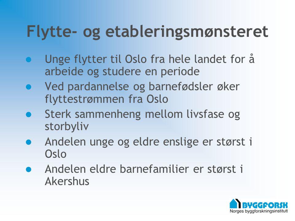 Flytte- og etableringsmønsteret Unge flytter til Oslo fra hele landet for å arbeide og studere en periode Ved pardannelse og barnefødsler øker flyttestrømmen fra Oslo Sterk sammenheng mellom livsfase og storbyliv Andelen unge og eldre enslige er størst i Oslo Andelen eldre barnefamilier er størst i Akershus