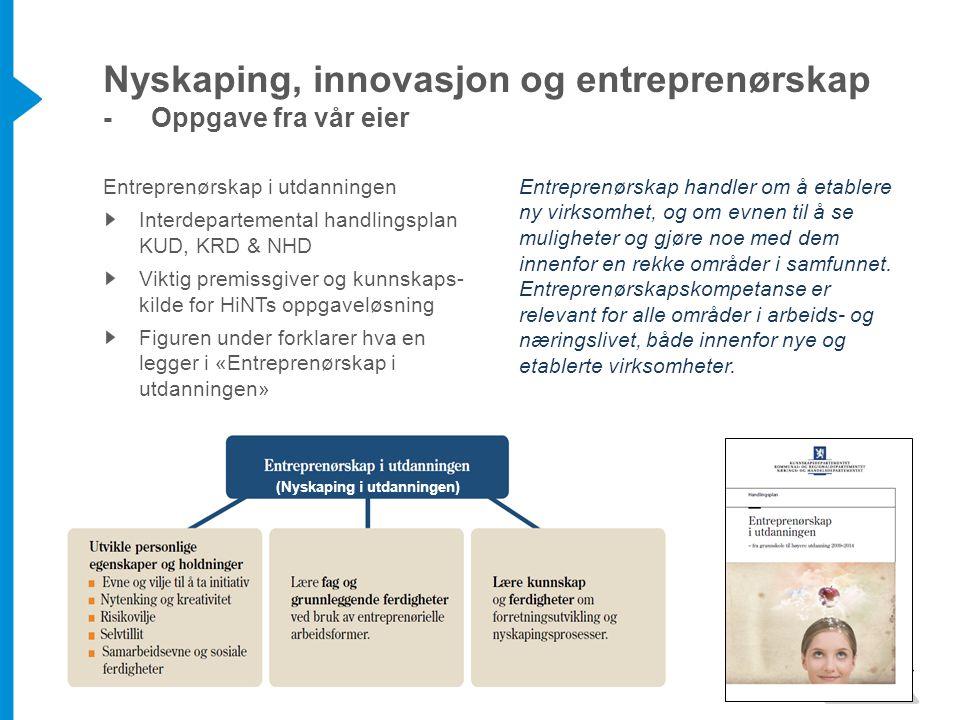Entreprenørskap i utdanningen Interdepartemental handlingsplan KUD, KRD & NHD Viktig premissgiver og kunnskaps- kilde for HiNTs oppgaveløsning Figuren