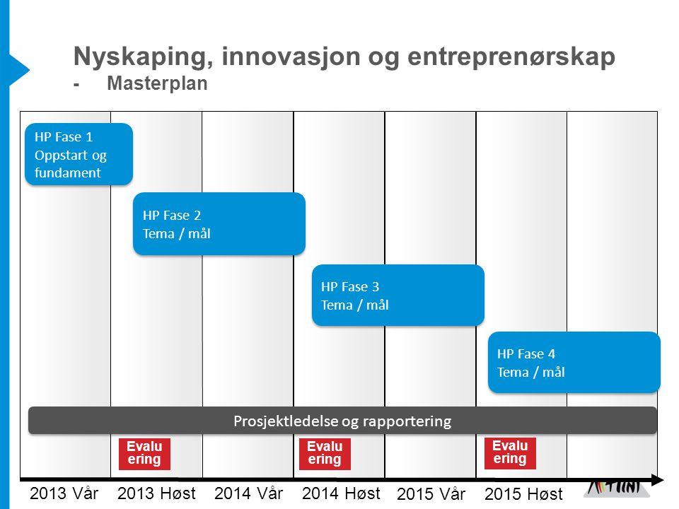 2013 Vår Prosjektledelse og rapportering HP Fase 1 Oppstart og fundament HP Fase 1 Oppstart og fundament Evalu ering 2013 Høst 2014 Vår 2014 Høst 2015