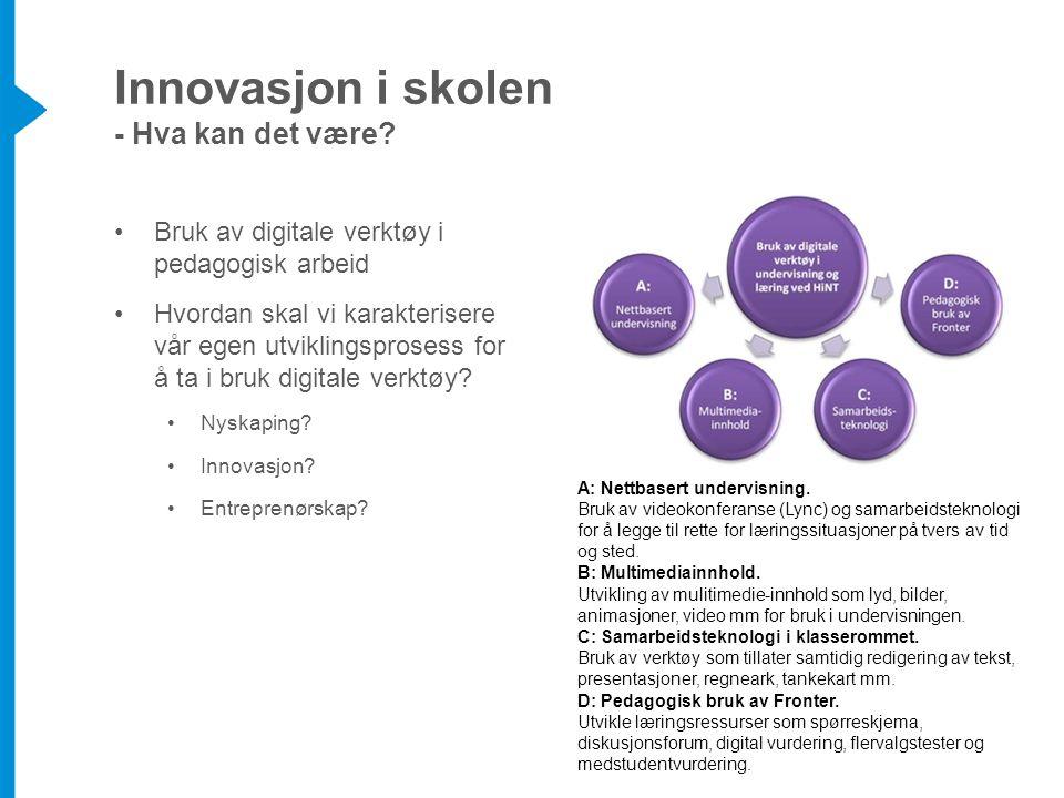A: Nettbasert undervisning. Bruk av videokonferanse (Lync) og samarbeidsteknologi for å legge til rette for læringssituasjoner på tvers av tid og sted
