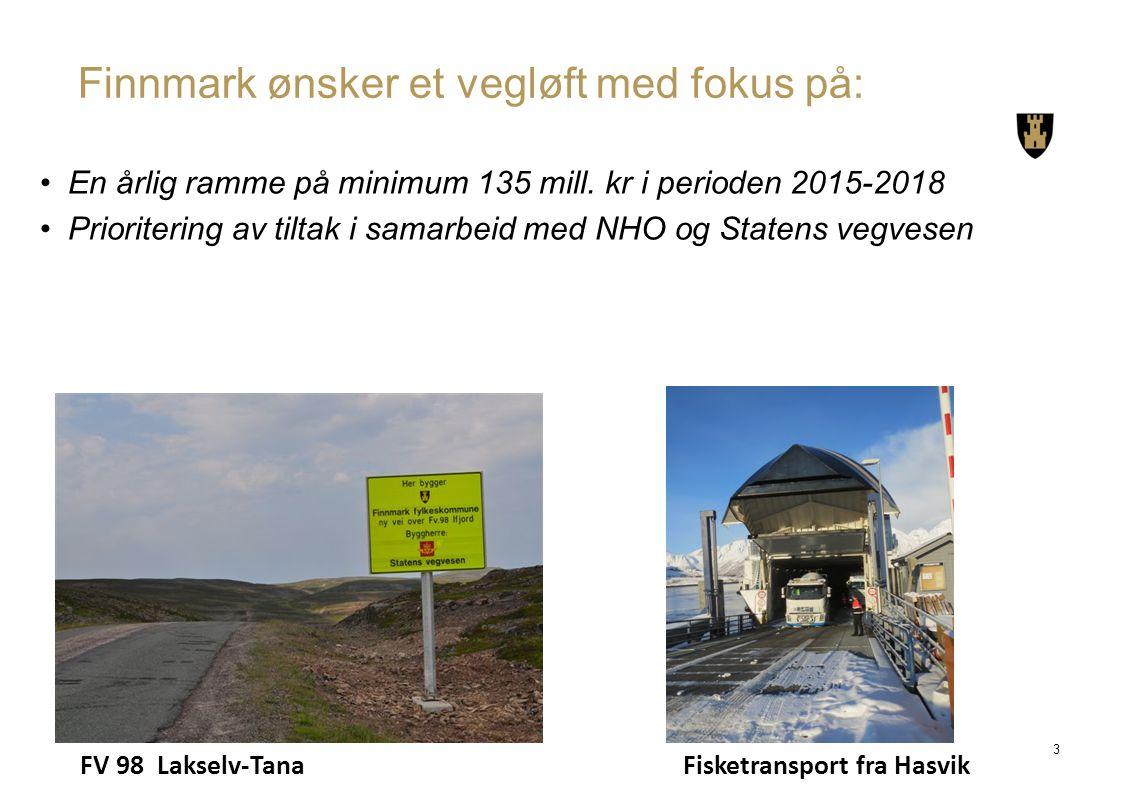 Finnmark ønsker et vegløft med fokus på: En årlig ramme på minimum 135 mill. kr i perioden 2015-2018 Prioritering av tiltak i samarbeid med NHO og Sta