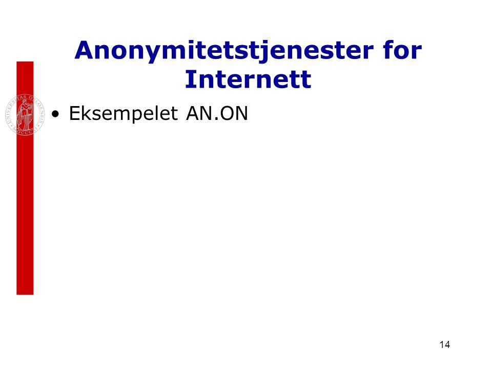 14 Anonymitetstjenester for Internett Eksempelet AN.ON
