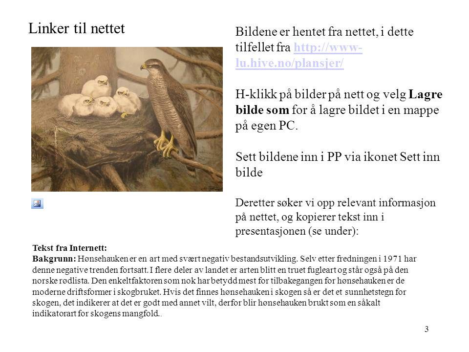 3 Linker til nettet Tekst fra Internett: Bakgrunn: Hønsehauken er en art med svært negativ bestandsutvikling.
