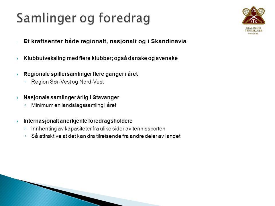 - Et kraftsenter både regionalt, nasjonalt og i Skandinavia  Klubbutveksling med flere klubber; også danske og svenske  Regionale spillersamlinger f