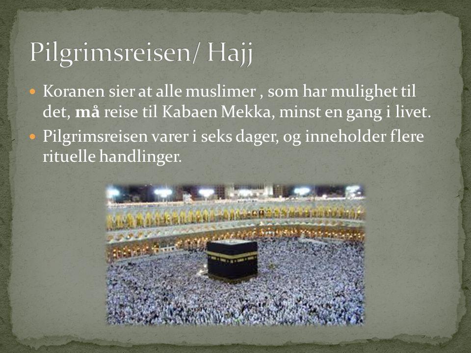 Koranen sier at alle muslimer, som har mulighet til det, må reise til Kabaen Mekka, minst en gang i livet. Pilgrimsreisen varer i seks dager, og inneh