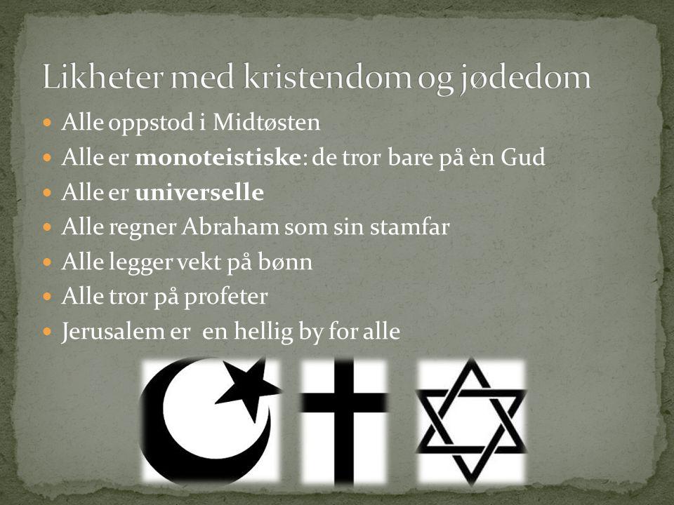 Alle oppstod i Midtøsten Alle er monoteistiske: de tror bare på èn Gud Alle er universelle Alle regner Abraham som sin stamfar Alle legger vekt på bøn